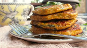 Sweet Potato Basil Pancakes with Chipotle Infused MapleSyrup
