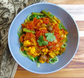 Vegetable Tikka Masala Over Zoodles
